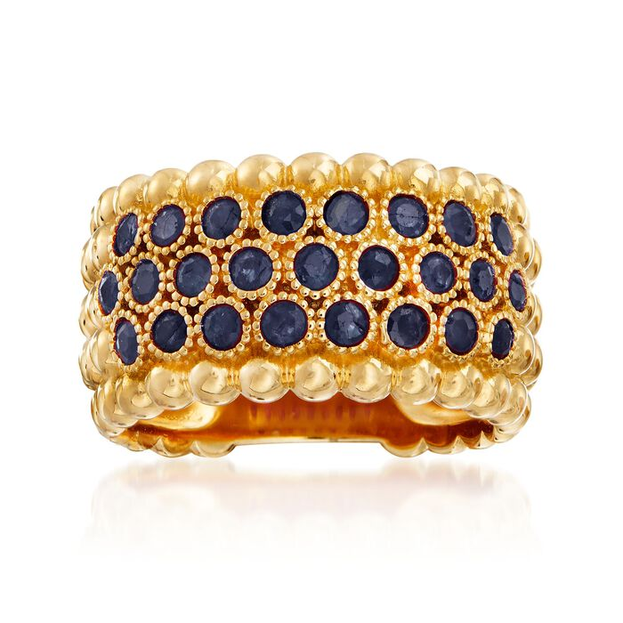 1.00 ct. t.w. Sapphire Beaded Multi-Row Ring in 18kt Gold Over Sterling