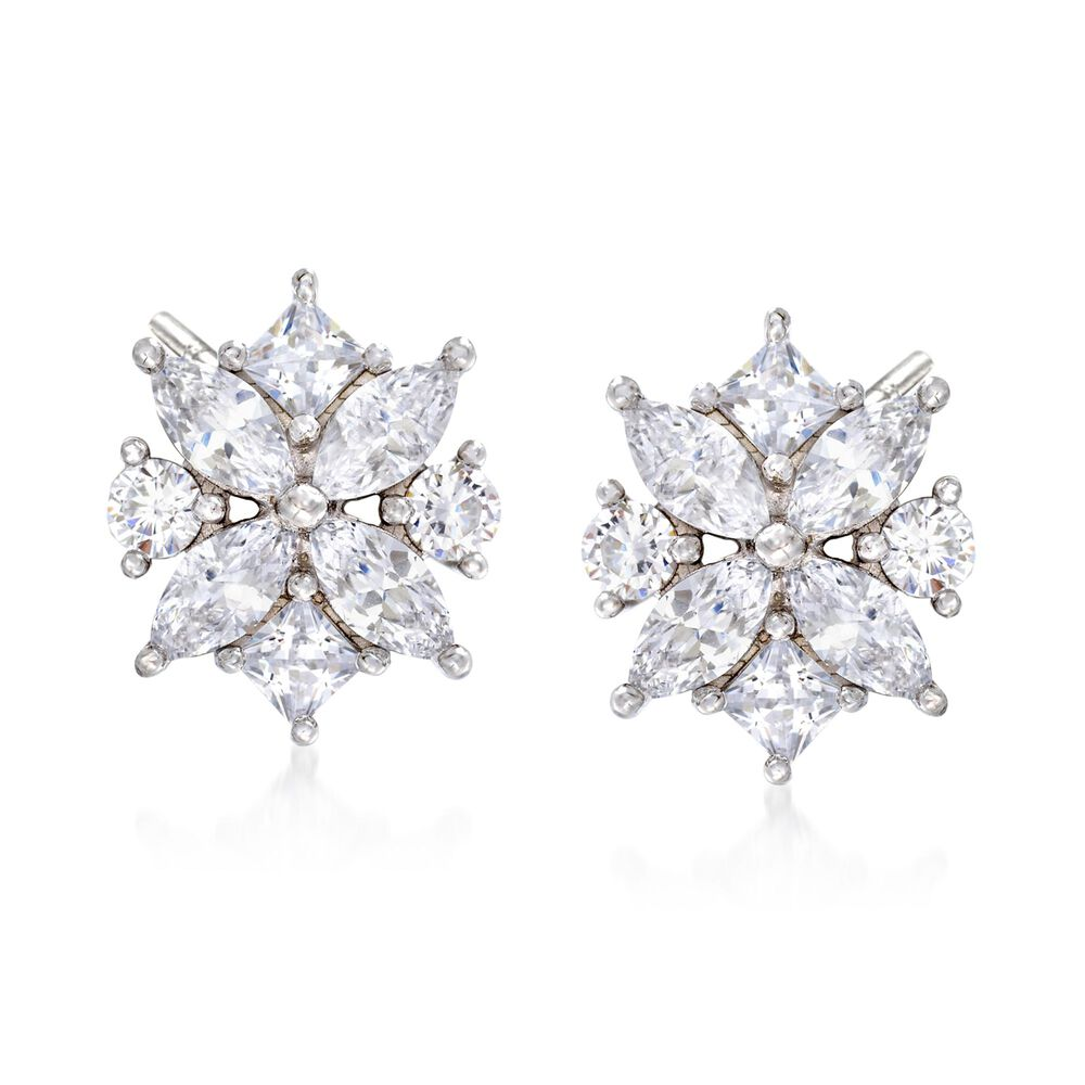 82c17a306 1.90 ct. t.w. Multi-Cut CZ Floral Earrings in Sterling Silver | Ross ...