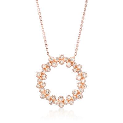 .32 ct. t.w. Bezel-Set Diamond Circle Pendant Necklace in 14kt Rose Gold, , default