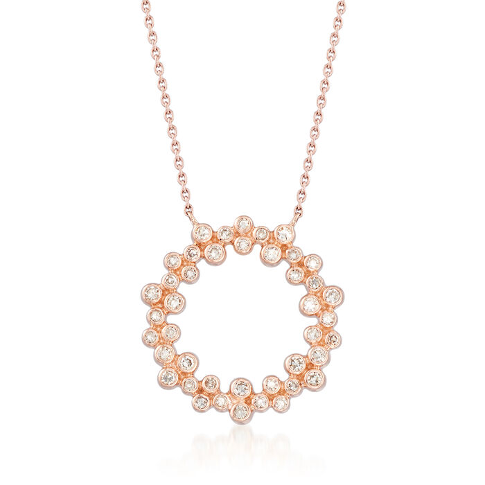.32 ct. t.w. Bezel-Set Diamond Circle Pendant Necklace in 14kt Rose Gold