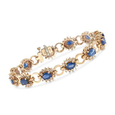 C. 1975 Vintage 6.70 ct. t.w. Sapphire and 1.80 ct. t.w. Diamond Bracelet in 14kt Yellow Gold, , default