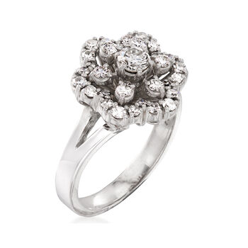 C. 1980 Vintage 1.00 ct. t.w. Diamond Flower Ring in Platinum and 18kt Yellow Gold. Size 8.75, , default