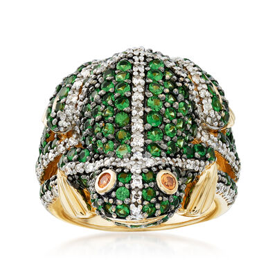 C. 1990 Vintage 2.60 ct. t.w. Tsavorites and .35 ct. t.w. Diamond Frog Ring in 14kt Yellow Gold, , default