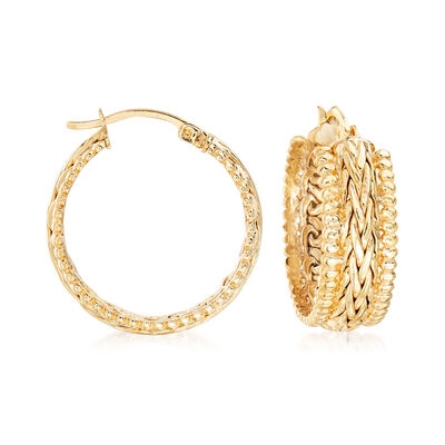 18kt Gold Over Sterling Beaded-Edge Wheat-Link Hoop Earrings