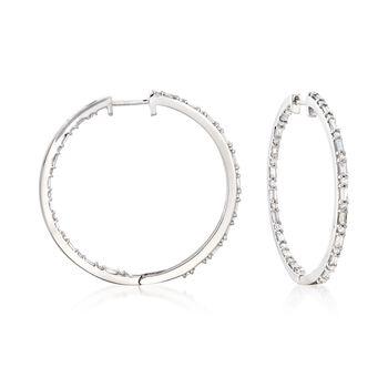 "1.00 ct. t.w. Baguette and Round Diamond Inside-Outside Hoop Earrings in Sterling Silver. 1 1/8"", , default"