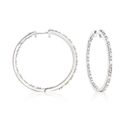 1.00 ct. t.w. Baguette and Round Diamond Inside-Outside Hoop Earrings in Sterling Silver, , default