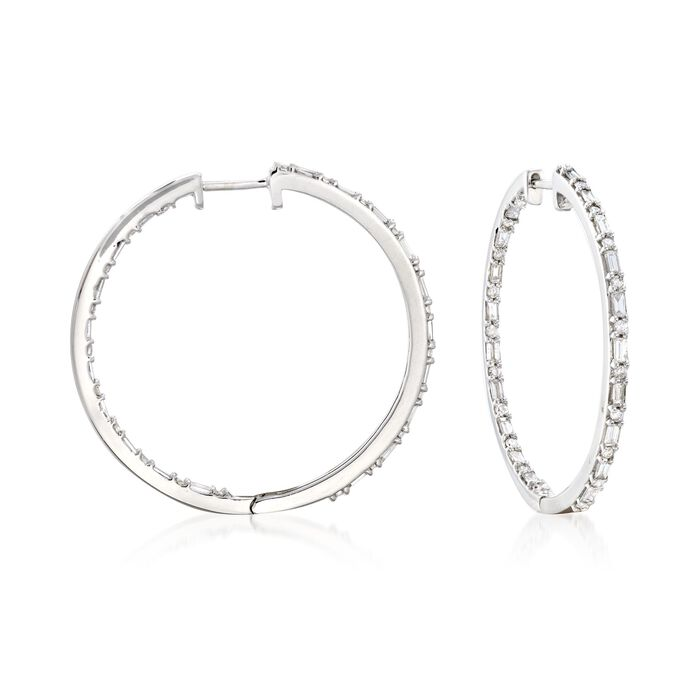 "1.00 ct. t.w. Baguette and Round Diamond Inside-Outside Hoop Earrings in Sterling Silver. 1 1/8"", , default"