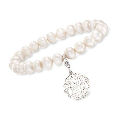 8-8.5mm Cultured Pearl Stretch Bracelet with Sterling Silver Personalized Disc Pendant, , default