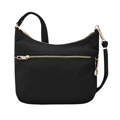 "Travelon ""Anti-Theft Tailored"" Onyx-Black Nylon Twill Hobo Bag"