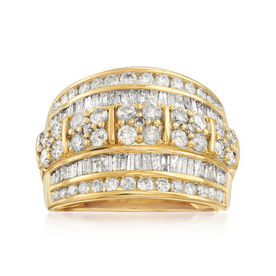 2.00 ct. t.w. Round and Baguette Diamond Multi-Row Ring in 14kt Yellow Gold, , default