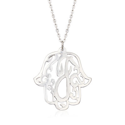Sterling Silver Single Initial Hamsa Hand Pendant Necklace, , default