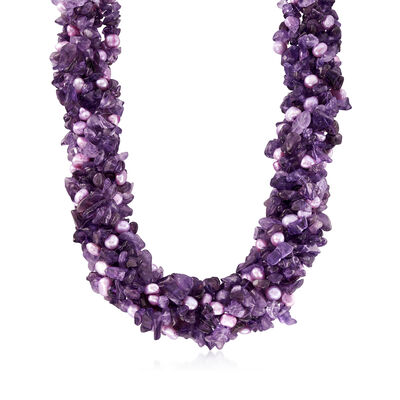 Amethyst and Purple Cultured Pearl Torsade Necklace with Sterling Silver