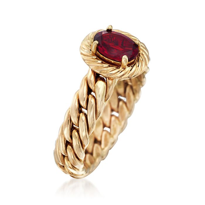 .70 Carat Garnet Curb-Link Ring in 14kt Yellow Gold