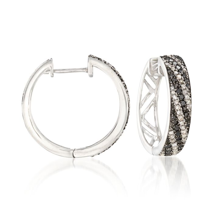 ".60 ct. t.w. Black and White Diamond Striped Hoop Earrings in Sterling Silver. 5/8"", , default"