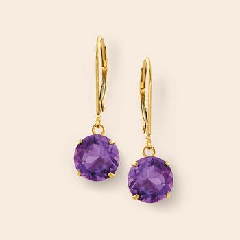 3.20 ct. t.w. Amethyst Drop Earrings in 14kt Yellow Gold