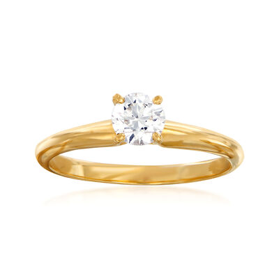 C. 1990 Vintage .40 Carat Diamond Ring in 14kt Yellow Gold, , default