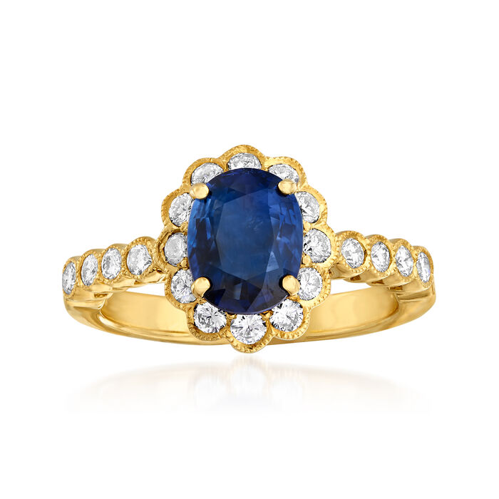C. 1980 Vintage 1.54 Carat Sapphire and .51 ct. t.w. Diamond Ring in 18kt Yellow Gold. Size 6