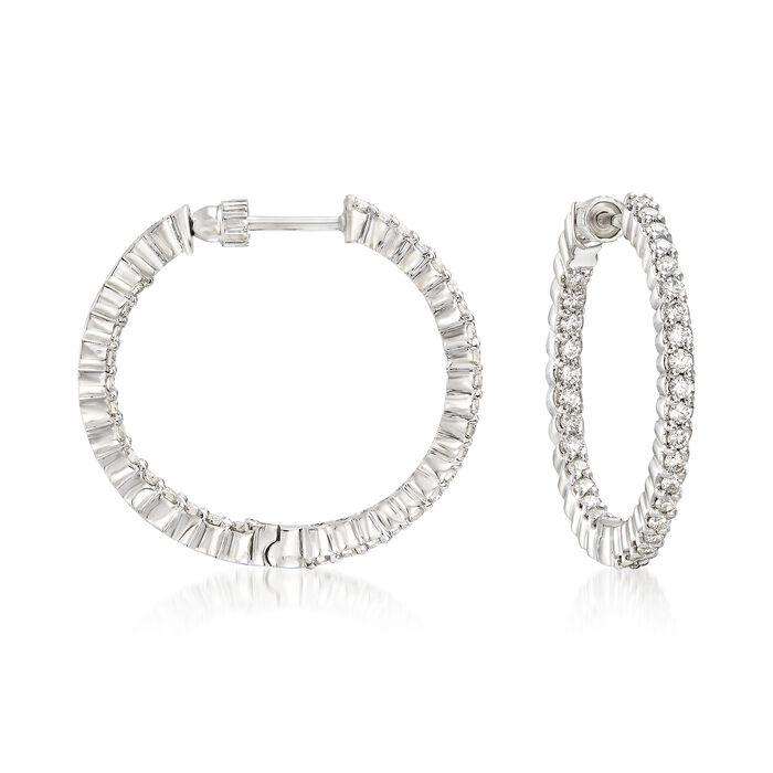 """Gabriel Designs 1.05 ct. t.w. Diamond Inside-Outside Hoop Earrings in 14kt White Gold. 7/8"""", , default"""
