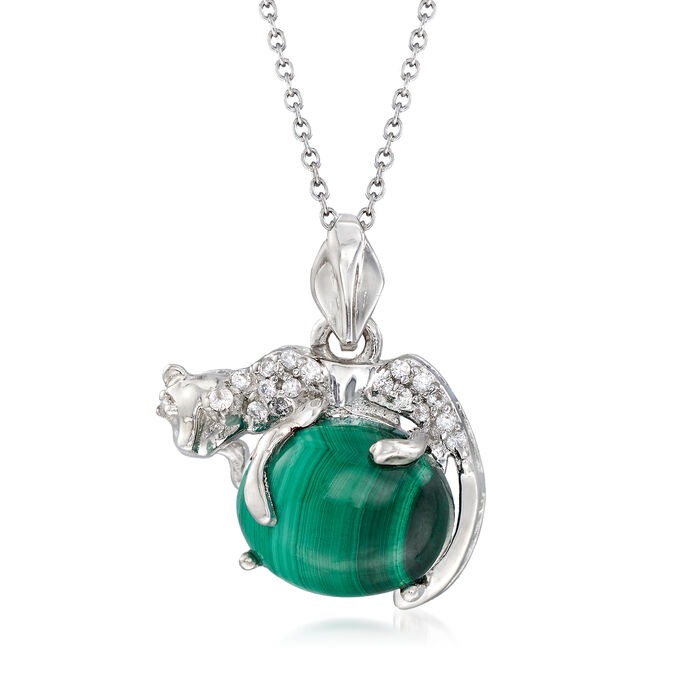 """Malachite and .10 ct. t.w. White Zircon Panther Pendant Necklace in Sterling Silver. 18"""", , default"""