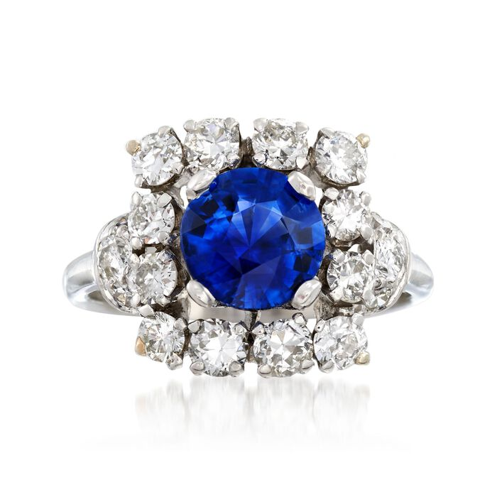 C. 1950 Vintage 1.57 Carat Sapphire and 1.45 ct. t.w. Diamond Ring in Platinum. Size 6, , default