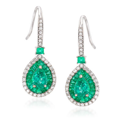 2.90 ct. t.w. Emerald and .46 ct. t.w. Diamond Drop Earrings in 14kt White Gold, , default