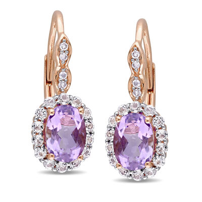 1.40 ct. t.w. Amethyst and .80 ct. t.w. White Topaz Drop Earrings with Diamond Accents in 14kt Rose Gold