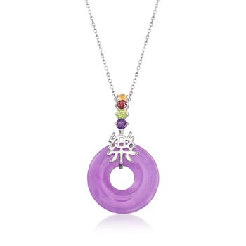 "Purple Jade and .35 ct. t.w. Multi-Stone ""Happy"" Pendant Necklace With Sterling Silver. 18"", , default"