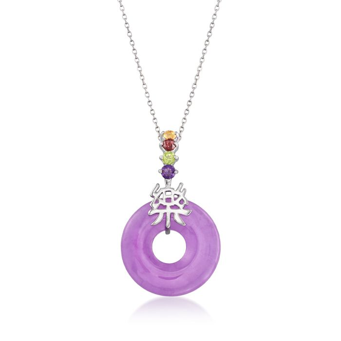 """Purple Jade and .35 ct. t.w. Multi-Stone """"Happy"""" Pendant Necklace with Sterling Silver. 18"""", , default"""