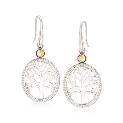 Sterling Silver and 14kt Yellow Gold Tree of Life Drop Earrings