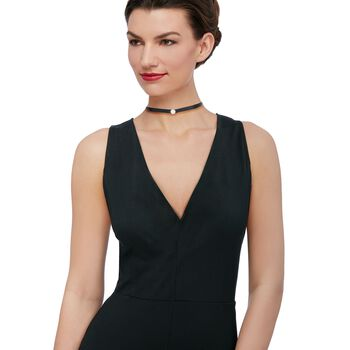 """Black Ribbon and .65 ct. t.w. CZ Circle Choker Necklace With Sterling Silver. 12"""", , default"""