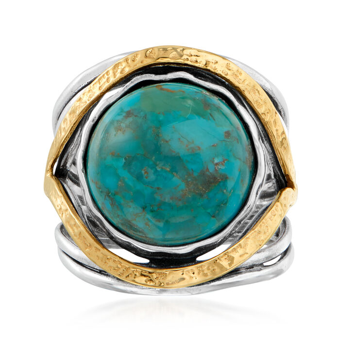 Turquoise Openwork Ring in Sterling Silver and 14kt Yellow Gold