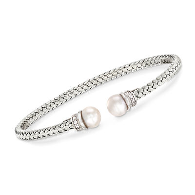 Italian Cultured Pearl and .16 ct. t.w. CZ Cuff Bracelet in Sterling Silver, , default