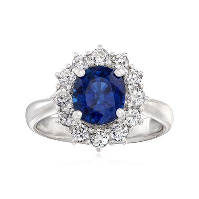 C. 2000 Vintage 2.20 Carat Sapphire and .84 ct. t.w. Diamond Ring in Platinum