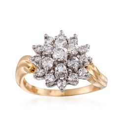 C. 1990 Vintage 1.00 ct. t.w. Diamond Cluster Ring in 14kt Yellow Gold. Size 6, , default
