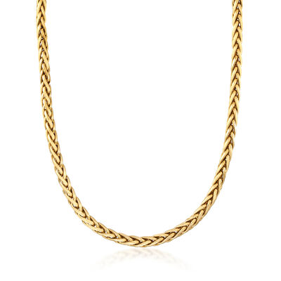C. 1990 Vintage 14kt Yellow Gold Wheat Chain Necklace, , default