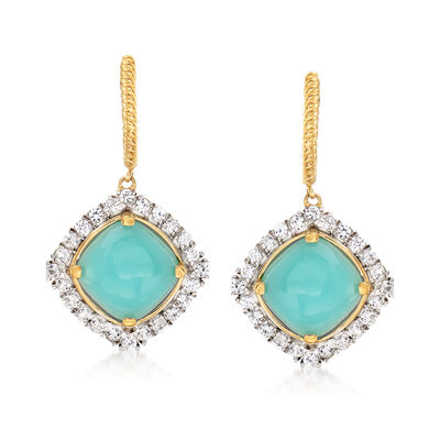 Blue Chalcedony and 1.90 ct. t.w. White Topaz Drop Earrings in 18kt Gold Over Sterling