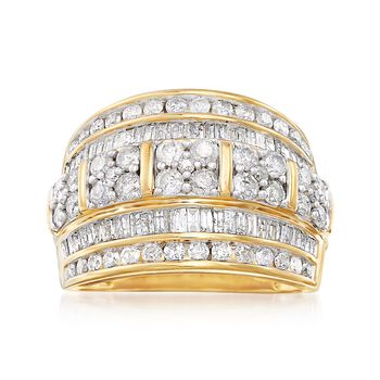 2.00 ct. t.w. Baguette and Round Diamond Multi-Row Ring in 18kt Gold Over Sterling, , default