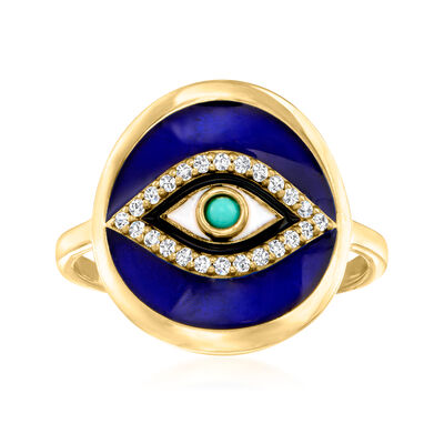 .10 ct. t.w. White Topaz and Multicolored Enamel Evil Eye Ring with Turquoise in 18kt Gold Over Sterling