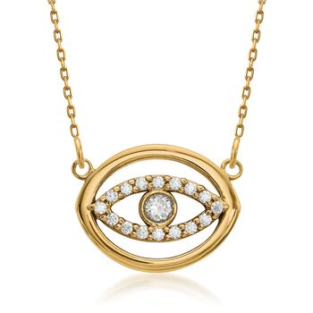 "14kt Yellow Gold Evil Eye Circle Necklace With Diamond Accents. 18.5"", , default"