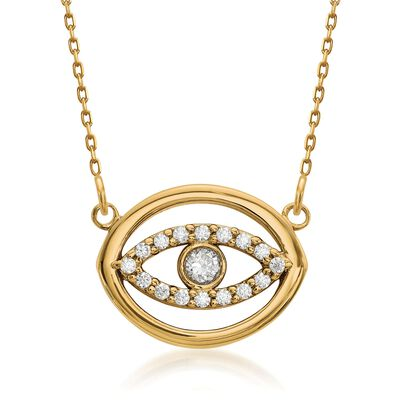 14kt Yellow Gold Evil Eye Circle Necklace with Diamond Accents, , default