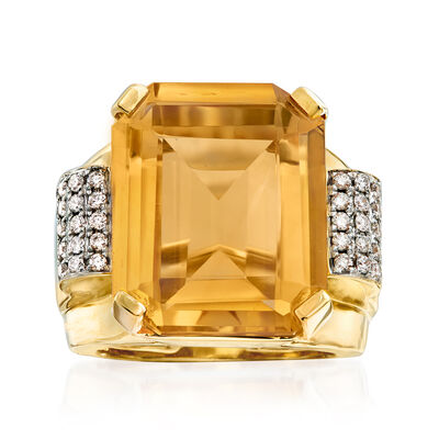 16.00 Carat Citrine and .43 ct. t.w. Diamond Ring in 14kt Yellow Gold, , default