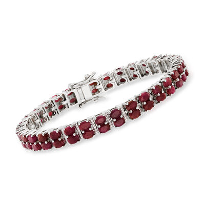 17.00 ct. t.w. Ruby Double-Row Bracelet in Sterling Silver