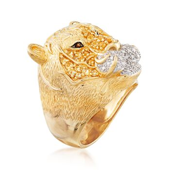 .50 ct. t.w. Citrine and .10 ct. t.w. Diamond Tiger Ring with Smoky Quartz Accents in 18kt Gold Over Sterling, , default