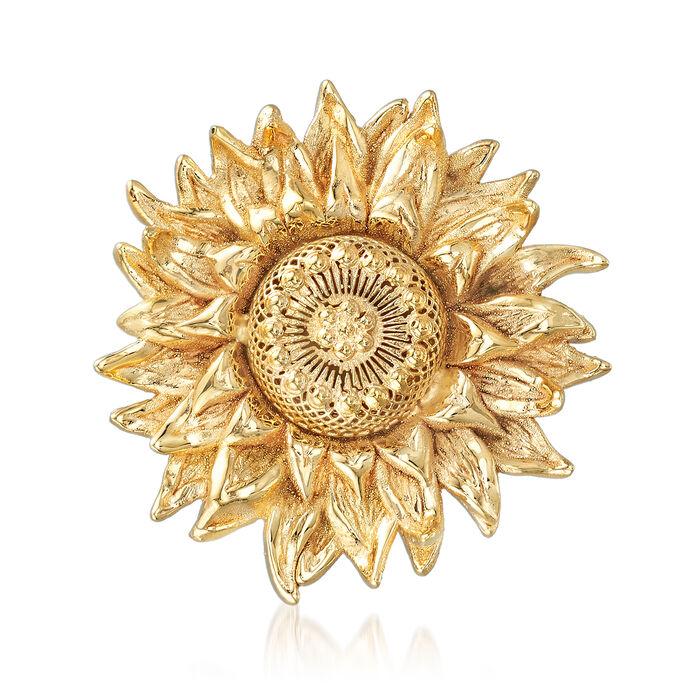 Italian 14kt Yellow Gold Sunflower Pin, , default