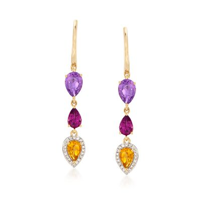 2.59 ct.t.w. Multi-Stone and .13 ct. t.w. Diamond Drop Earrings in 18kt Gold Over Sterling, , default