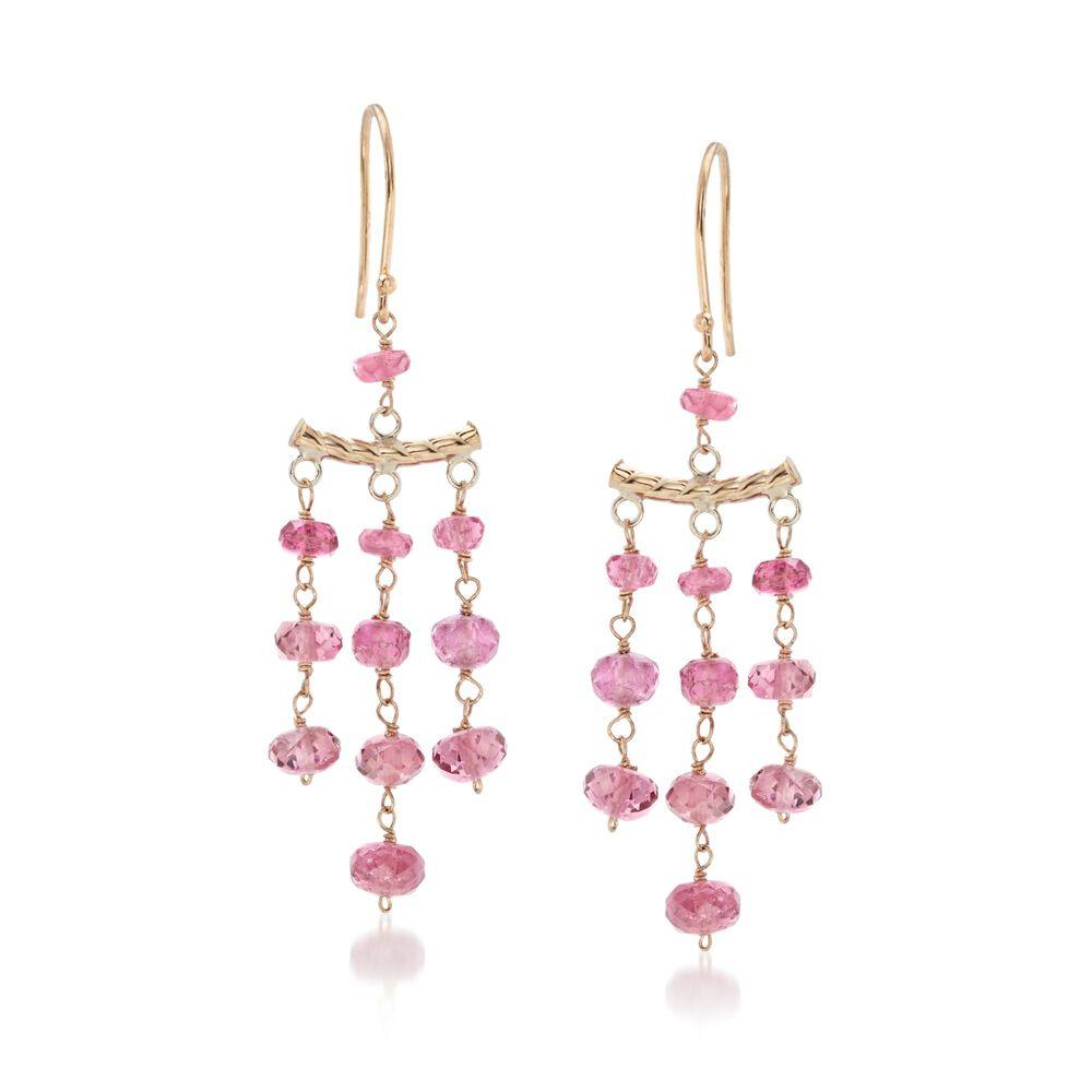 T W Pink Tourmaline Chandelier Style Earrings In 14kt Yellow Gold