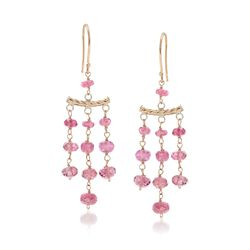 9.00 ct. t.w. Pink Tourmaline Chandelier-Style Earrings in 14kt Yellow Gold, , default