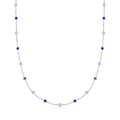 2.30 ct. t.w. CZ and 2.00 ct. t.w. Simulated Sapphire Station Necklace in Sterling Silver