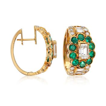 """C. 1990 Vintage 1.75 ct. t.w. Diamond and 1.00 ct. t.w. Emerald Hoop Earrings in 18kt Yellow Gold. 1/2"""", , default"""