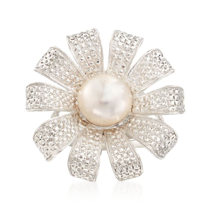 9-9.5mm Cultured Pearl Flower Ring in Sterling Silver, , default